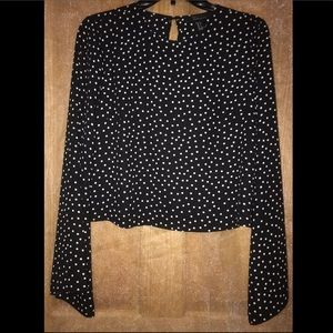 Navy, white polka dot, bell sleeve blouse